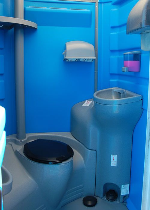 PORTABLE RESTROOM WITH SINK   This Portable Toilet Has All The Accessories  Of An Indoor Public