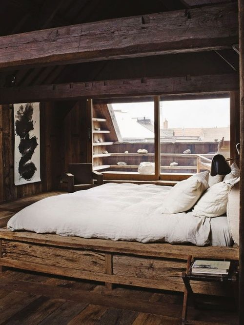 Bedroom, wood and white My Space Pinterest Rustikale