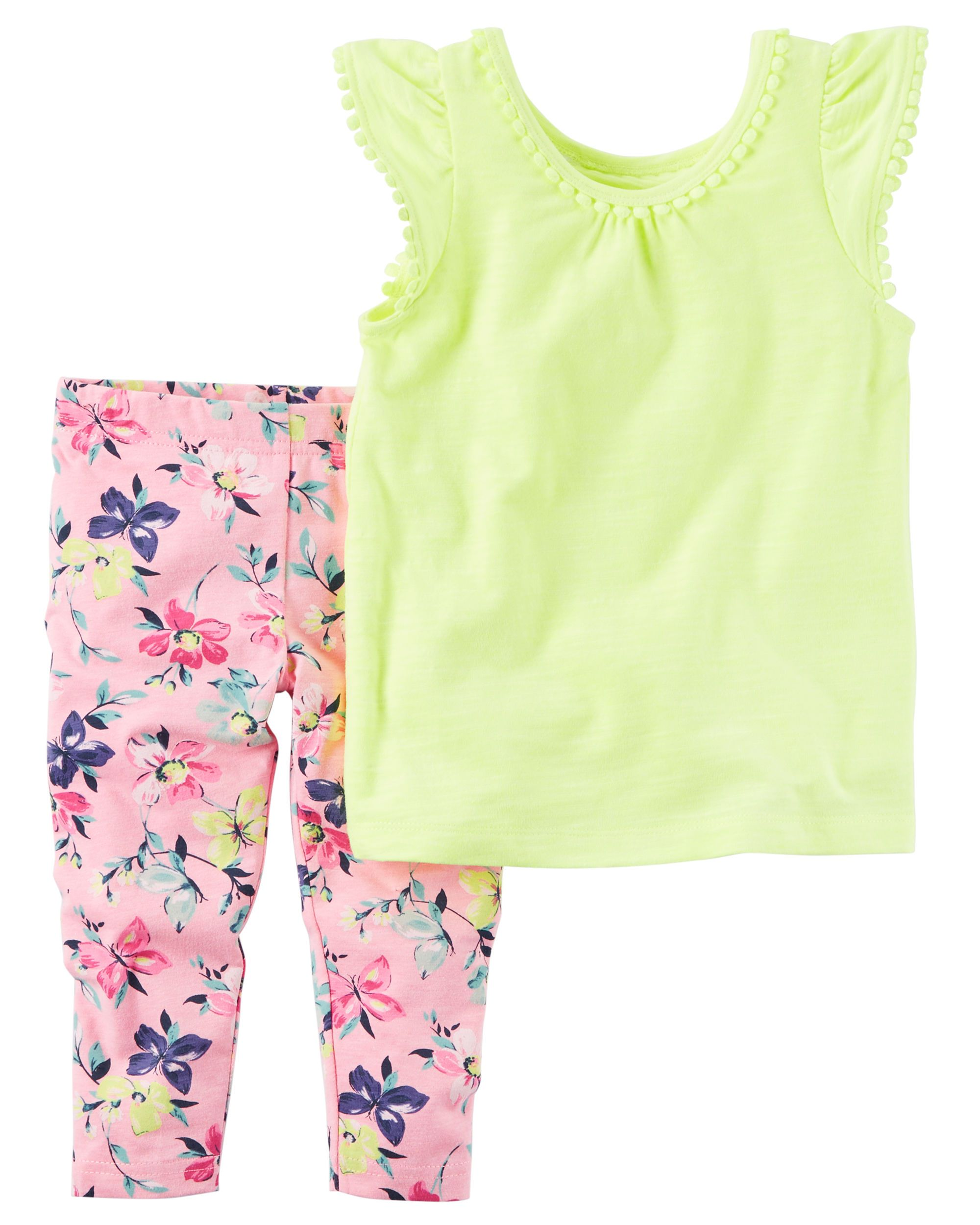 f61039120b88d Baby Girl 2-Piece Neon Tank & Capri Legging Set Featuring a pom-trimmed neon  tank and floral printed capri leggings, this warm weather combo has her  dressed ...