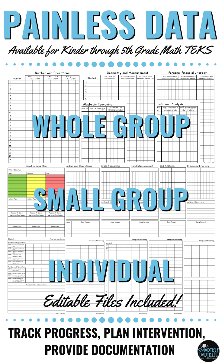 Math Teks Data Tracking Worksheets For Grades Kinder Through Fifth Datatracking Teks Mathteks T Math Teks Elementary Special Education Activities Math [ 1200 x 735 Pixel ]