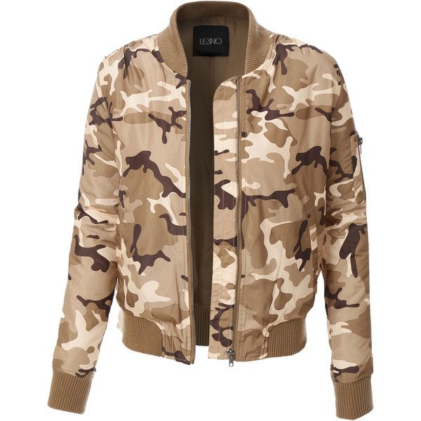f8c4d0ae8280a LE3NO Womens Zip Up Camo Print Bomber Jacket (52 BAM) ❤ liked on Polyvore  featuring outerwear, jackets, camouflage jacket, beige jacket, pocket jacket,  ...