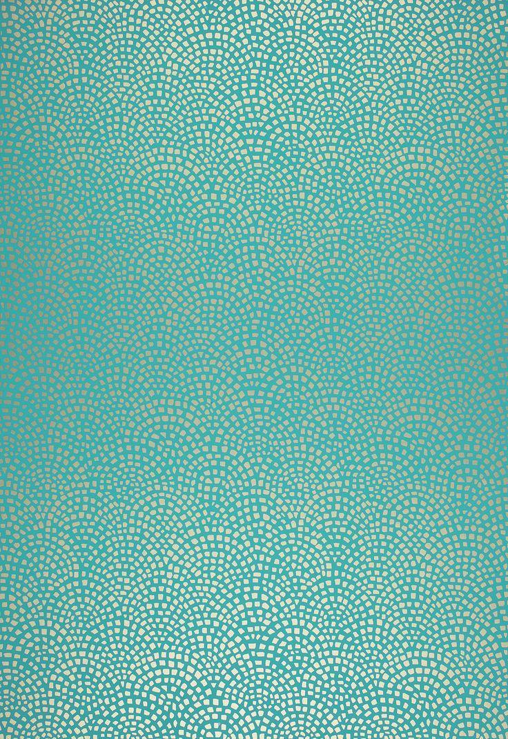 Mosiac aqua wallpaper from schumacher this geometric for Green wallpaper for walls