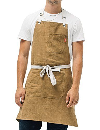 Mens and Womens Linen Bib Apron for Kitchen - Adjustable with ...