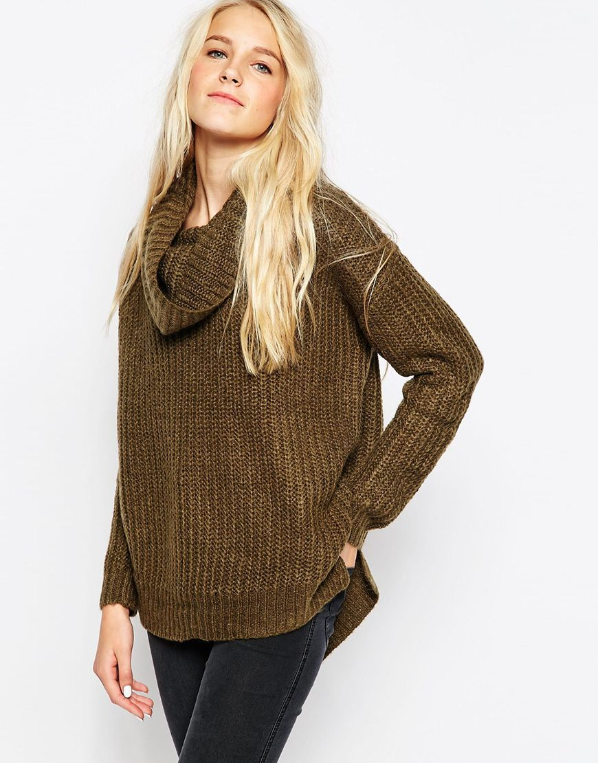 COWL NECK OLIVE KNIT SWEATER// BOUGHT | WANT | Pinterest | Chunky ...