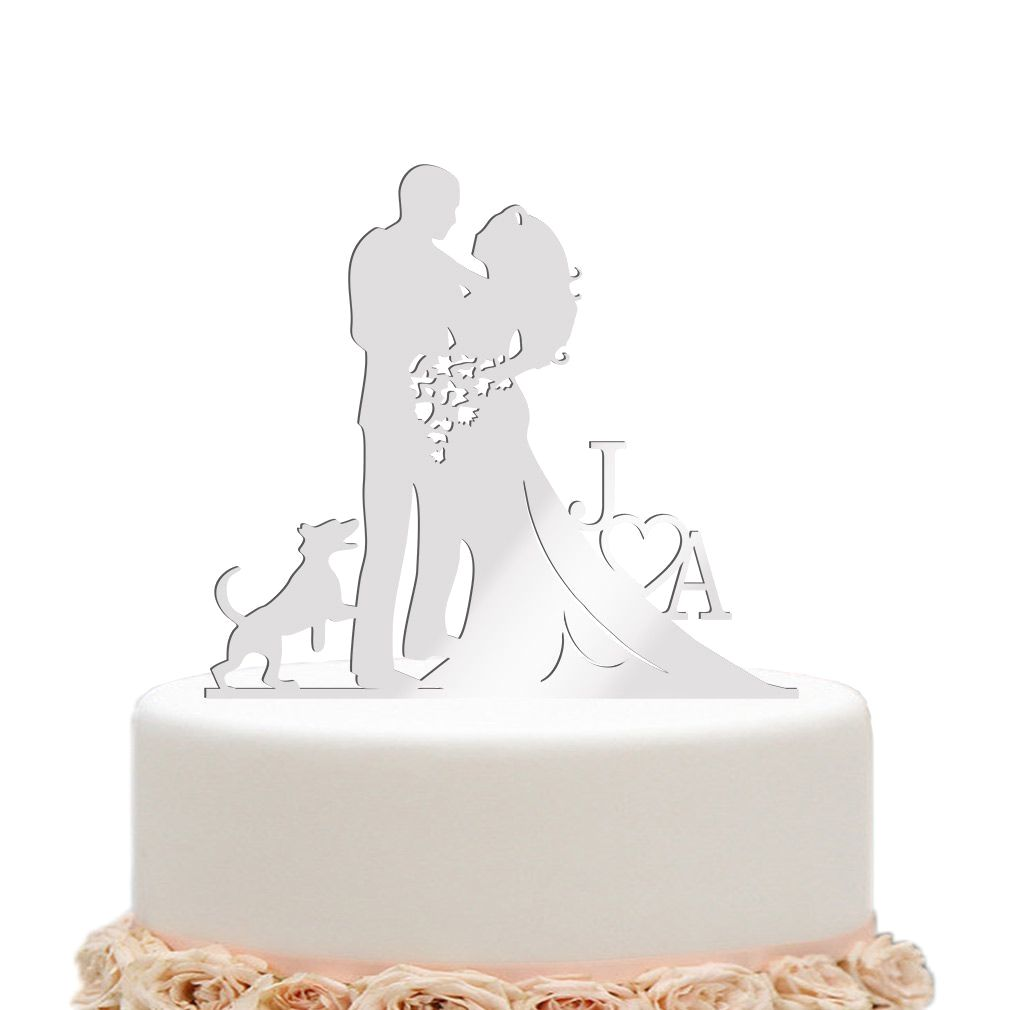 Wedding cake toppers bride and groom heart flower dog mirror silver