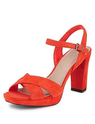 Suede Platform High Heel Sandals with