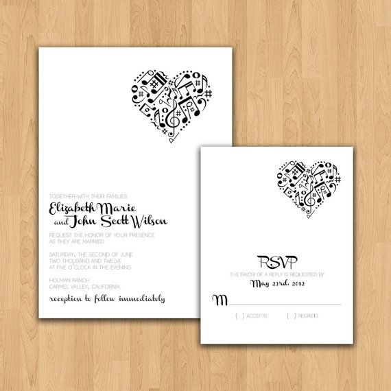 Music Theme Wedding Invitation- Wonder If We Could Find