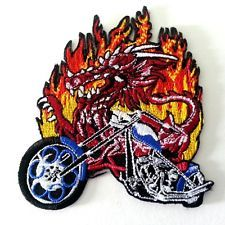 Burn Flame Fire Round Embroidered Iron on Patch Free Postage