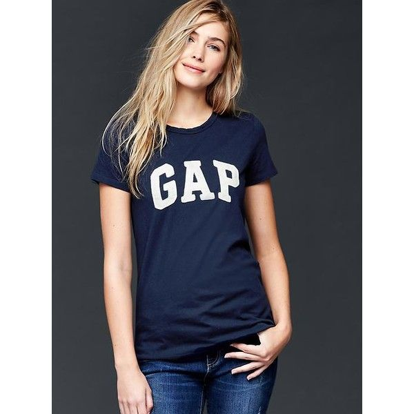 Gap Women Classic Logo Tee ($25) ❤ liked on Polyvore featuring tops, t