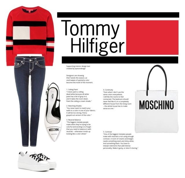 Tommy Hilfiger by wemakefashion on Polyvore featuring mode, Tommy Hilfiger, True Religion, Moschino and Kenzo