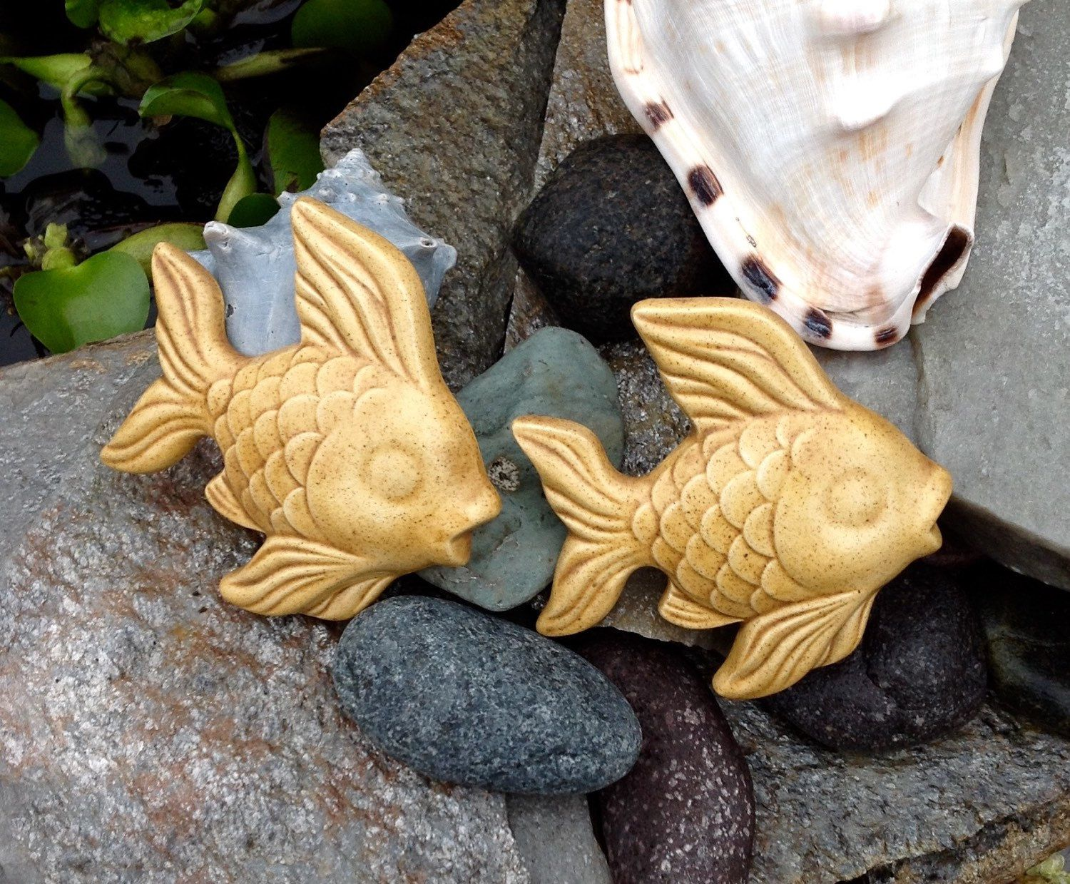FREE SHIPPING..Vintage PAIR Sandy Brown Ceramic Angel Fish Wall ...