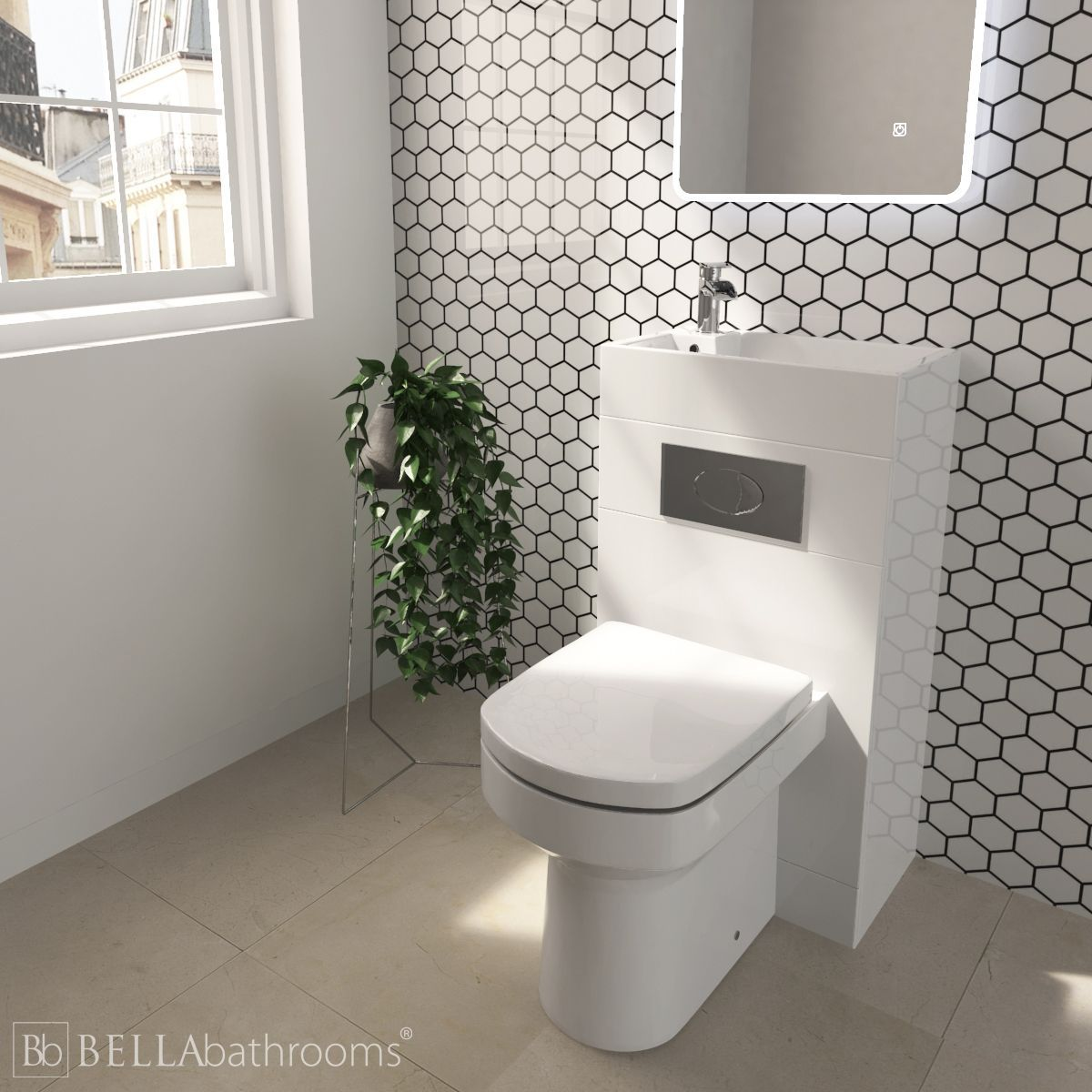 Cassellie Futura Gloss White Space Saving Toilet With Sink On Top 500mm Space Saving Toilet Toilet Sink Small Toilet Room
