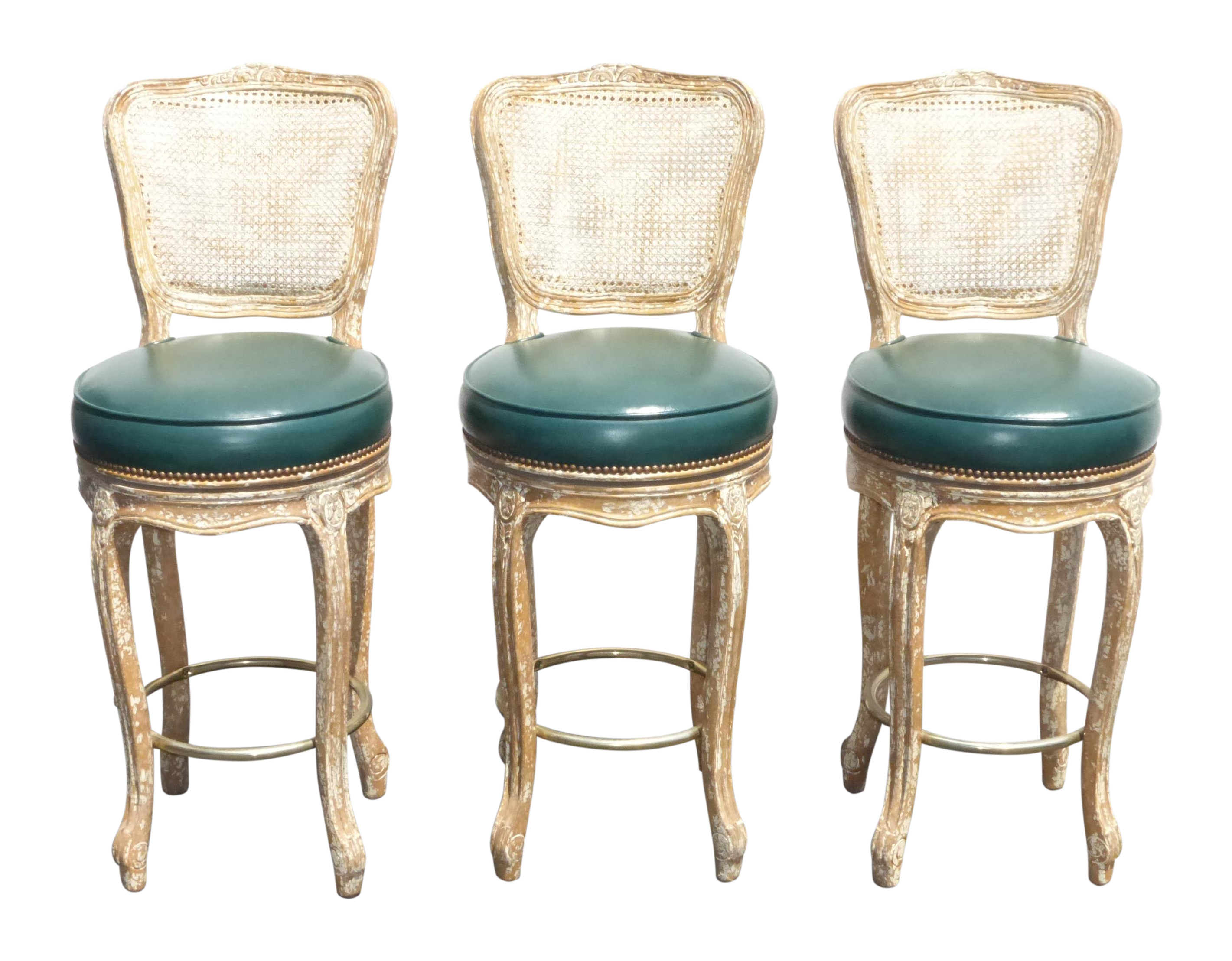 French Provincial Cane Back Chic Bar Stools 3 On Chairish Com Bar Stools French Provincial Unique Bar Stools