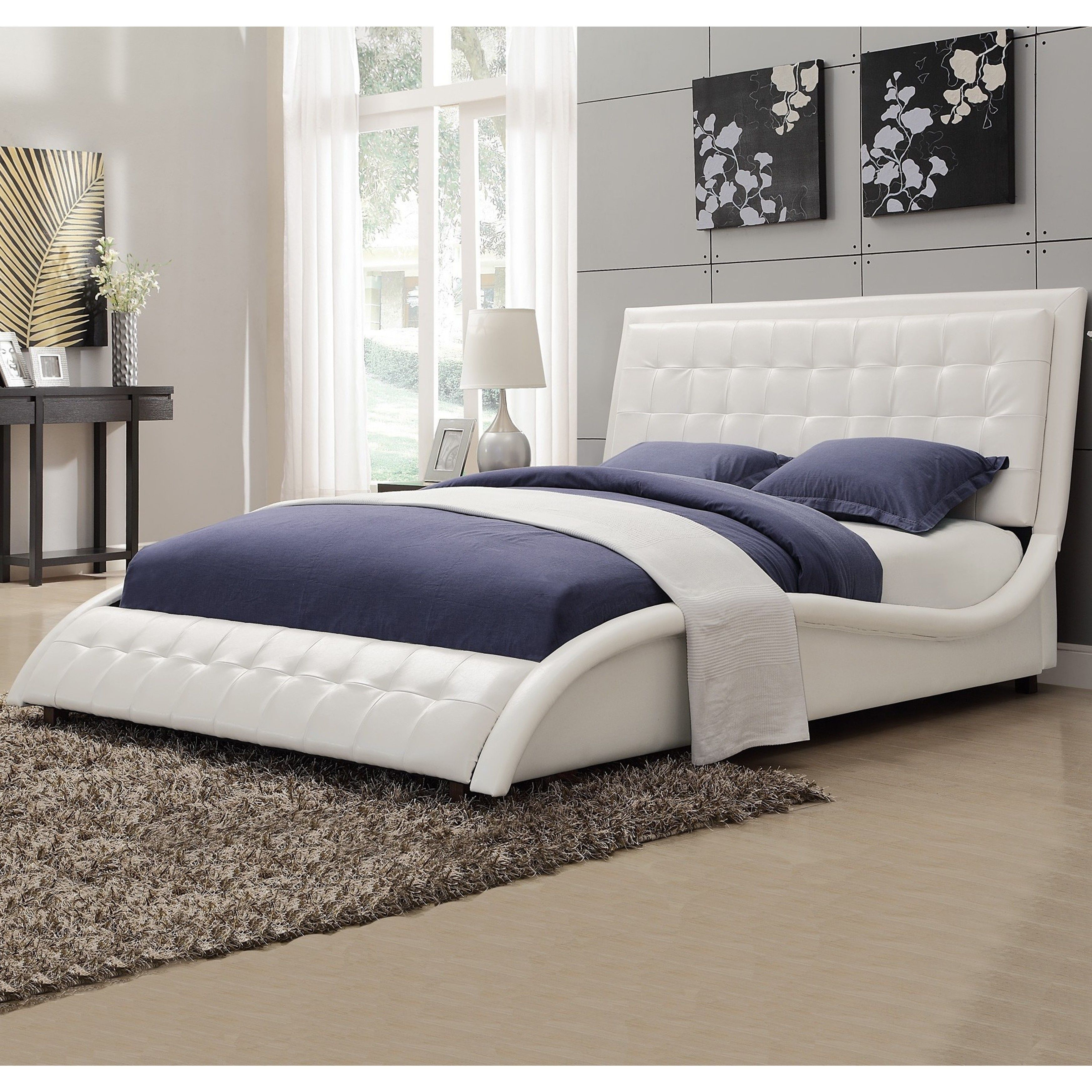 Best Modern Style Wave Design White Upholstered Bed King 400 x 300