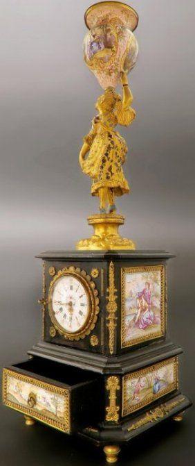 Large 19th C Viennese Enamel & Bronze Figural Clock