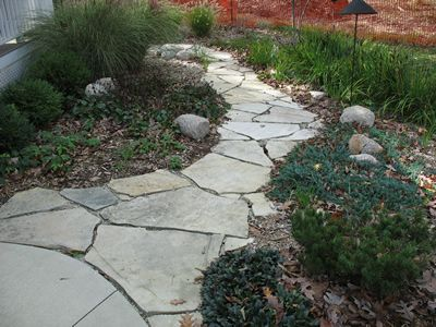 crazy concrete pavers front walkway victorian home | Other flagstone walkways.