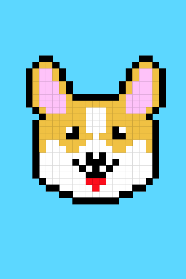 Easy Pixel Art Dogs Corgi Pixel Art Facile Chiens Corgi