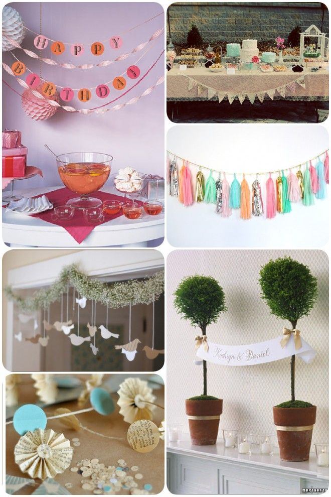 banner collage http://pizzazzerie.com/parties/pretty-party-decoration-garlands/