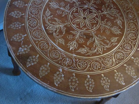 Boho Coffee Table Free Ship Hand Painted Wooden Round Table Gold