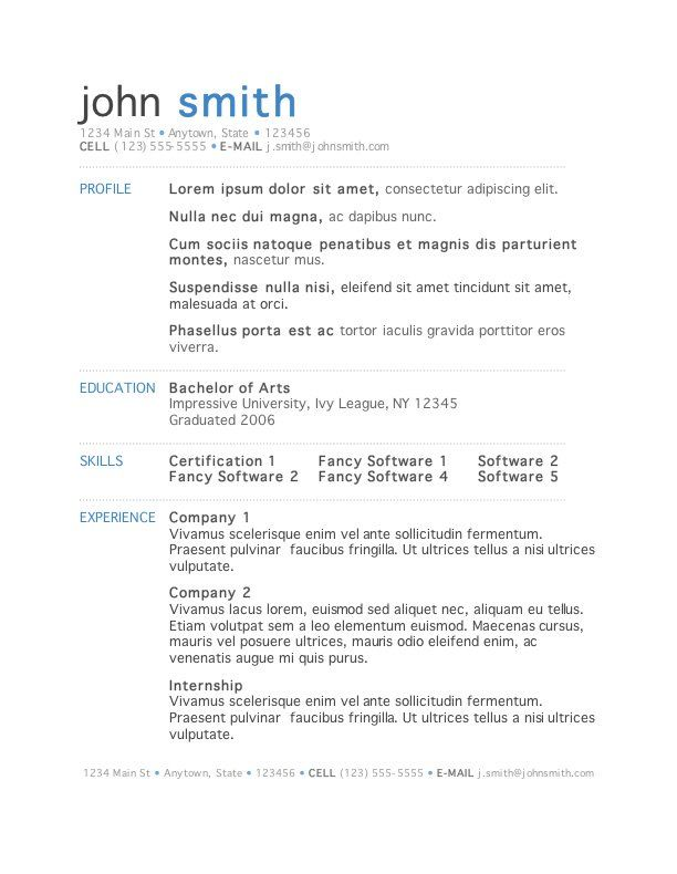 Free Mac Resume Templates 50 Free Microsoft Word Resume Templates For Download  Microsoft