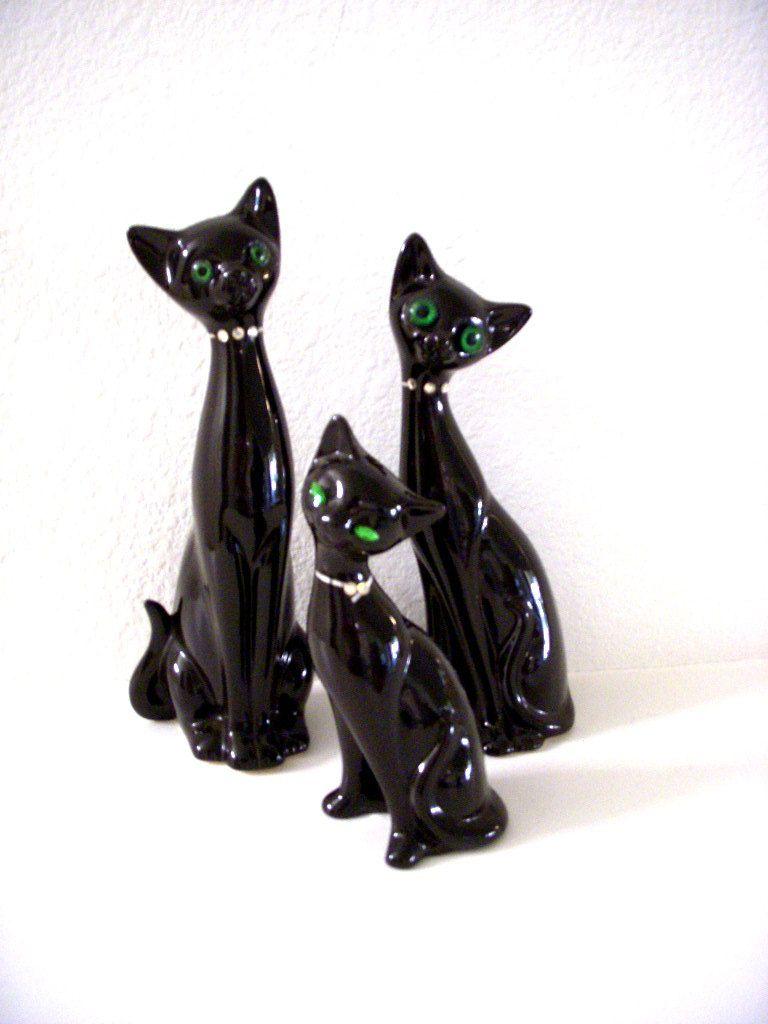 vintage mid century modern black cat figurinesomagainvintage