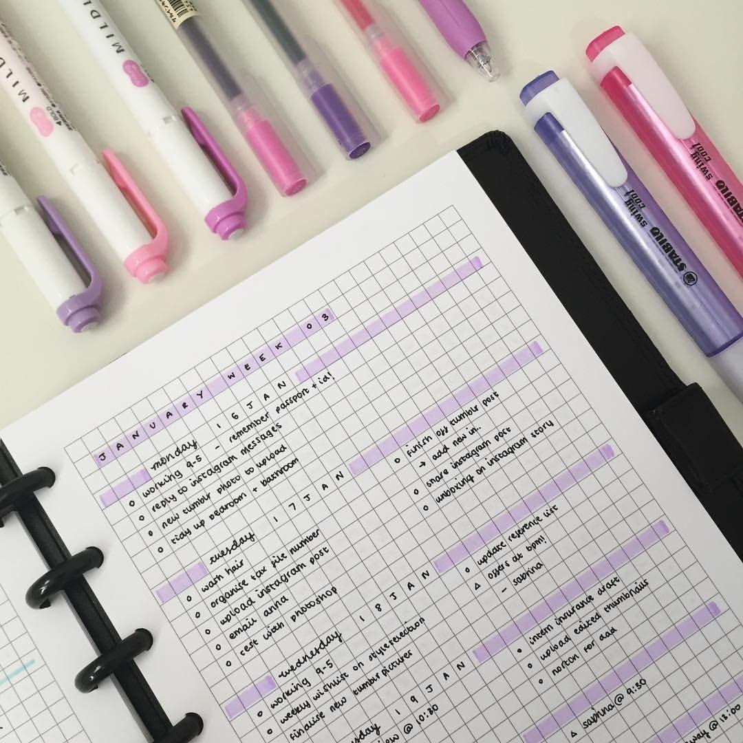 Emmastudies Purple Easy Simple Bullet Journal Spread Idea