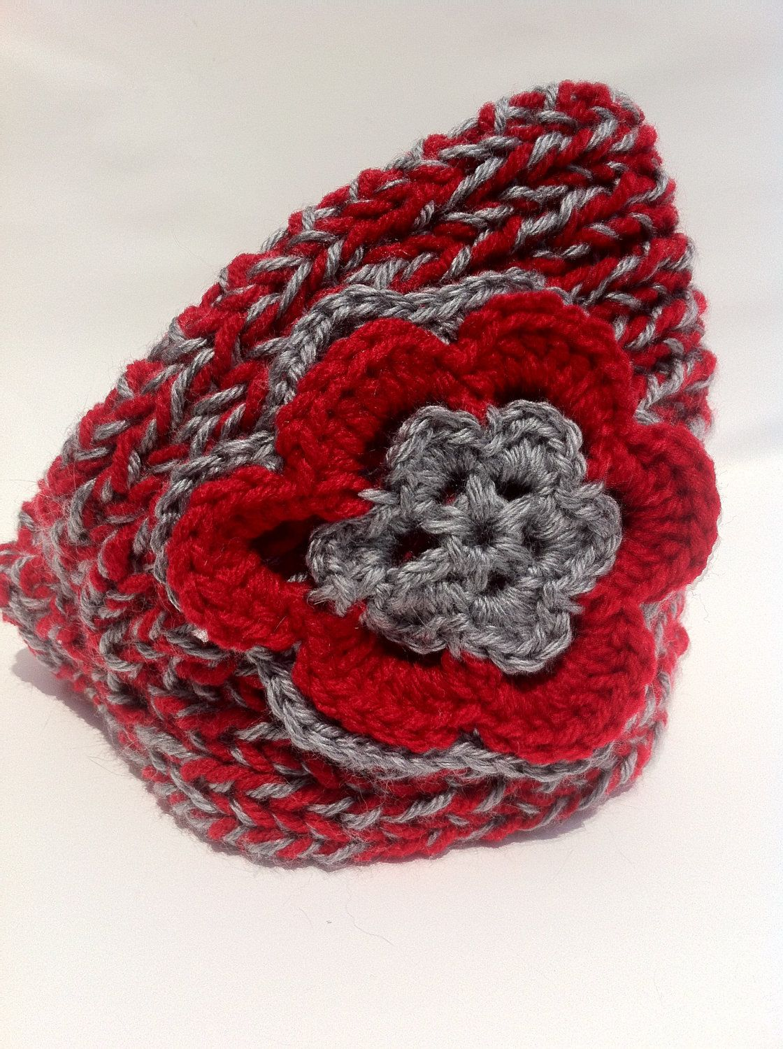 Knitted Winter Headband Red Gray Ohio State Knit Crochet Headbands