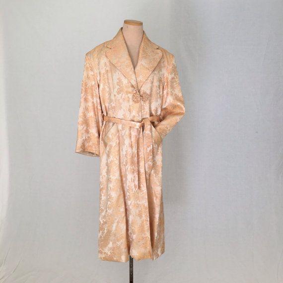 Brocade silk kimono/VINTAGE chinese japanese silk robe men m 40 gold ...