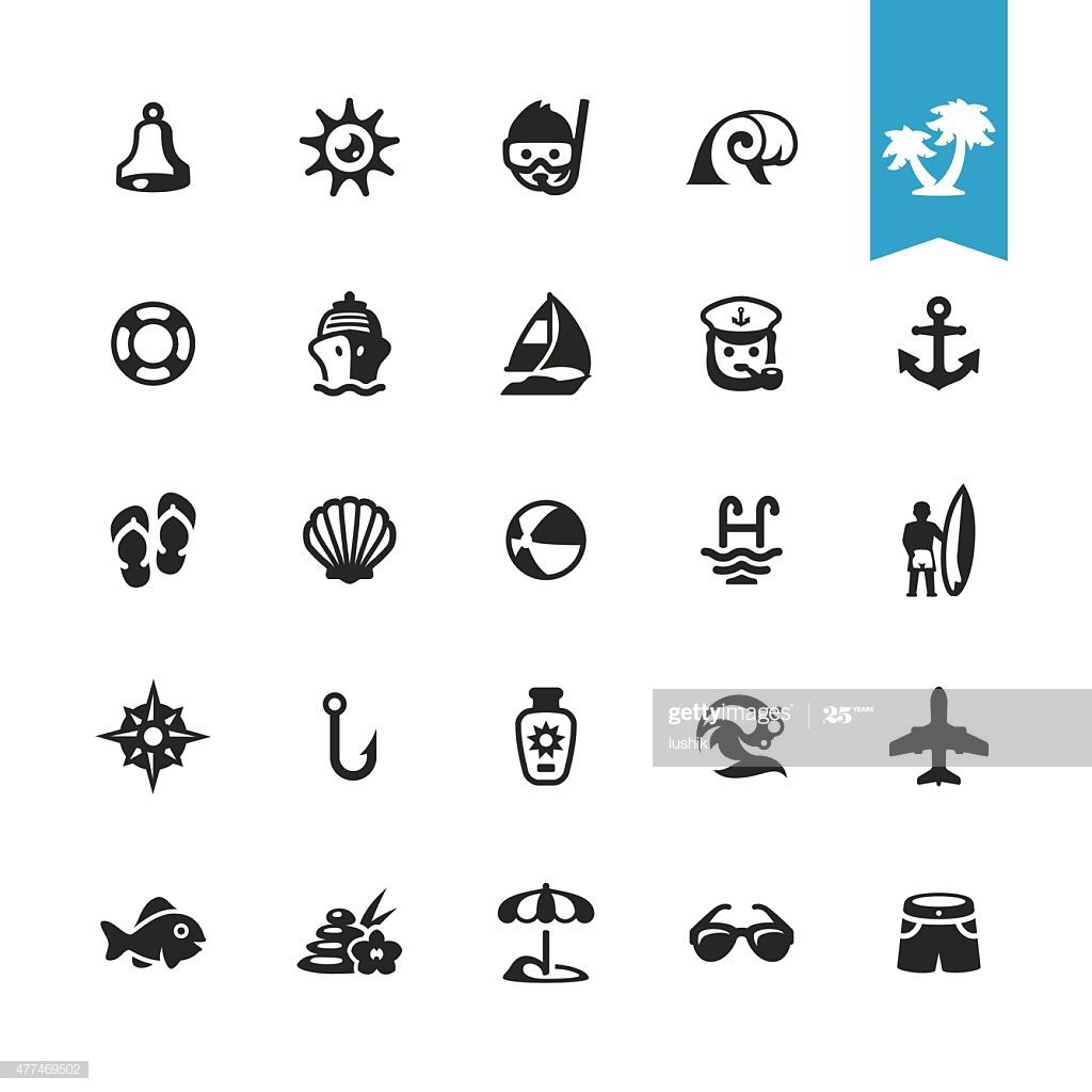 Summer And Beach Vacations Related Vector Icons Illustration #Ad, , #ad, #Vacations, #Beach, #Summer, #Related