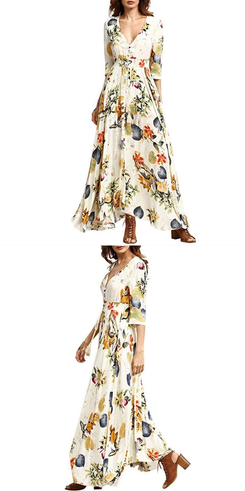114a98e903 Sexy women long dress bohemia short sleeve elegant dresses floral print  beach party casual dress 2018