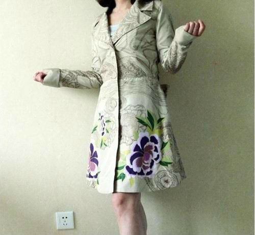 desigual  coat  desigual women's trench coat classic style thin trench free shipping US $24.99