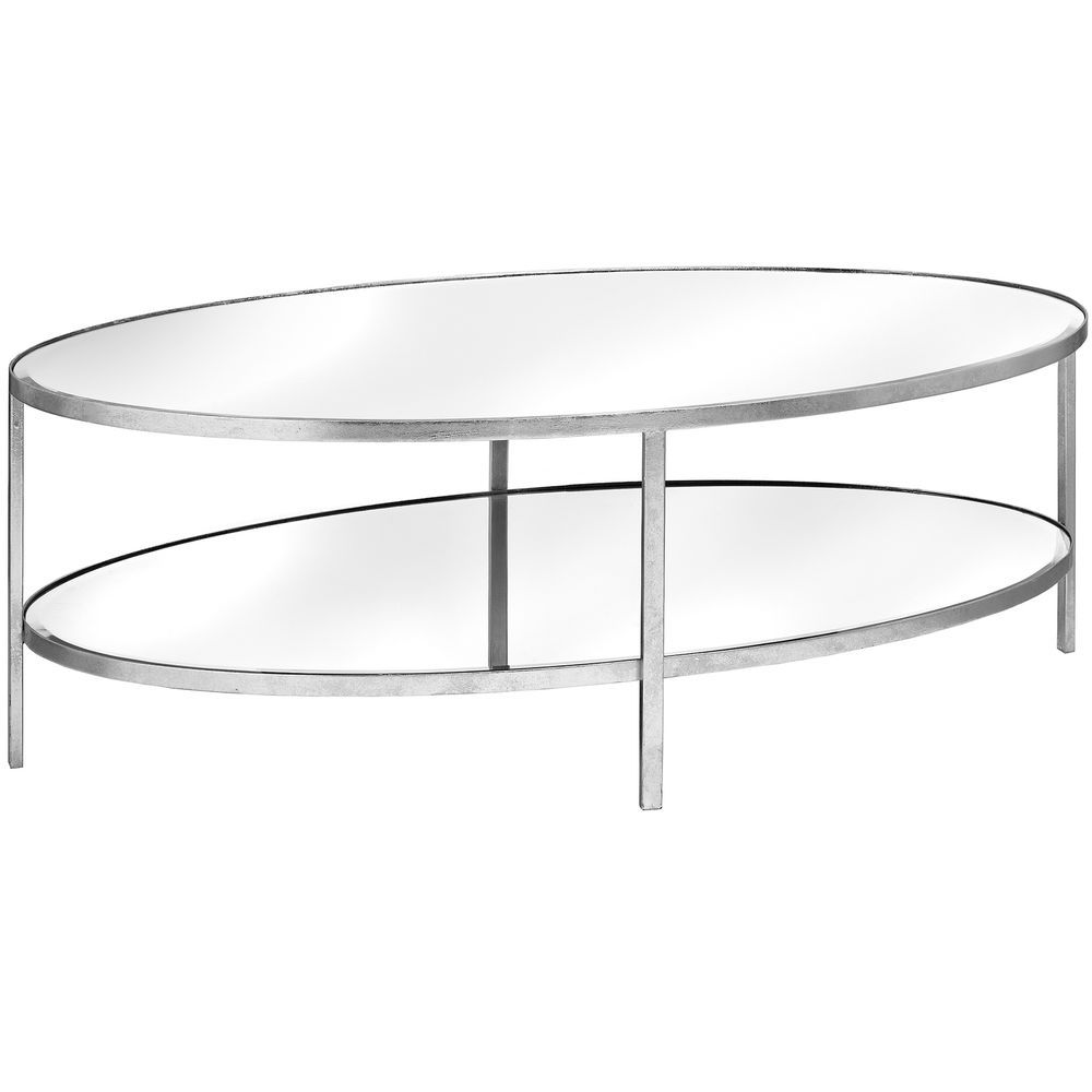 Oval Coffee Table Large Silver Metal Frame Gl Top Shelf