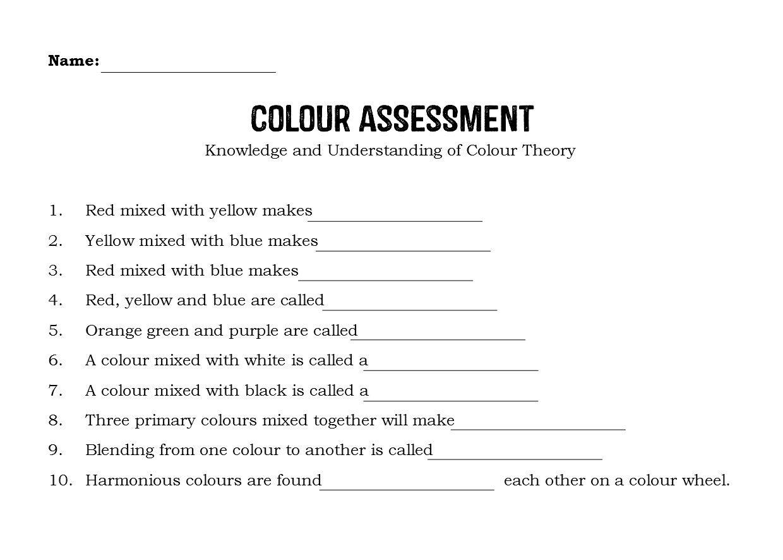Risultati Immagini Per Worksheet On Colour Theory
