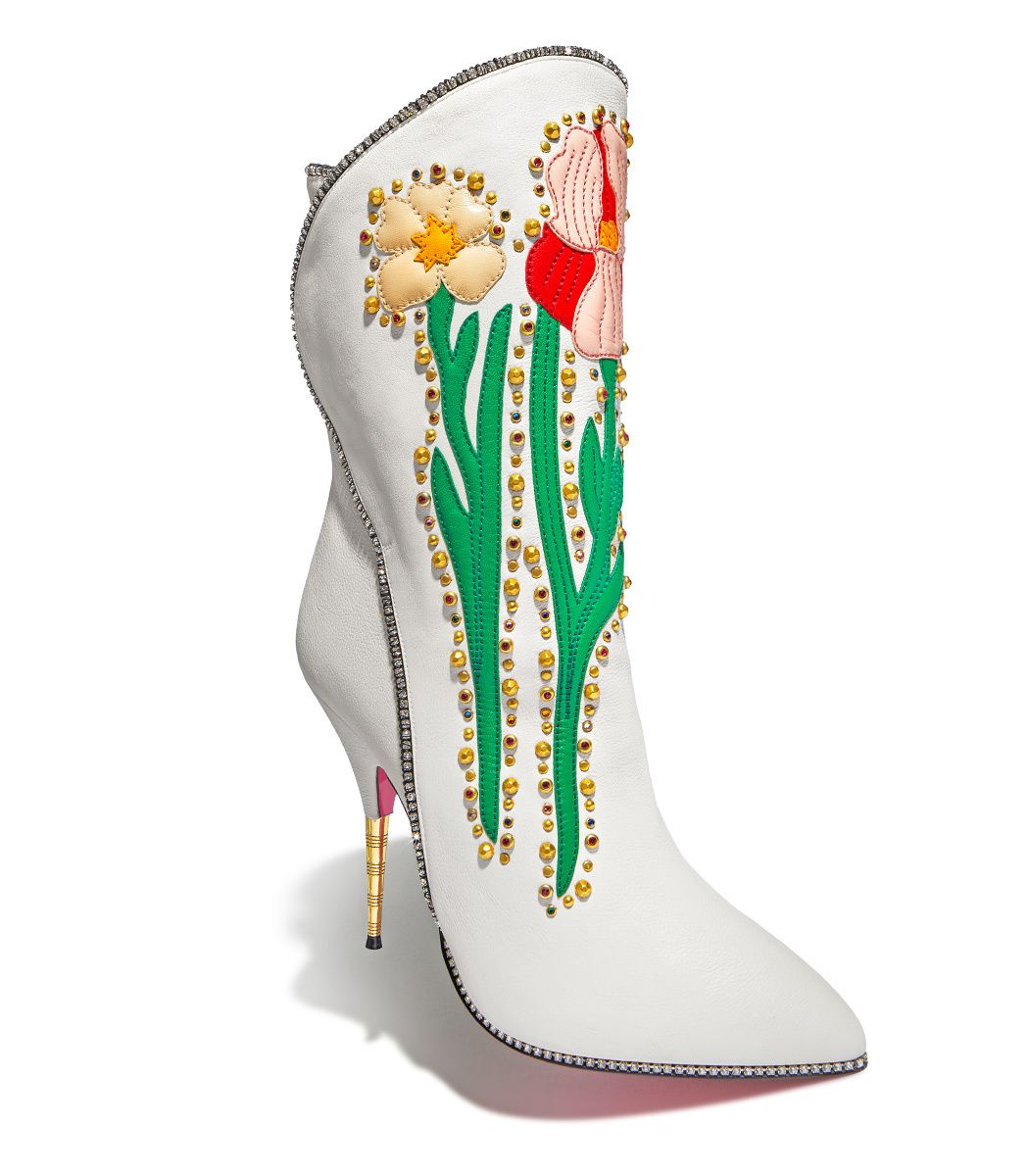 4450a2872db GUCCI Fosca Floral-Embroidered Leather Boot