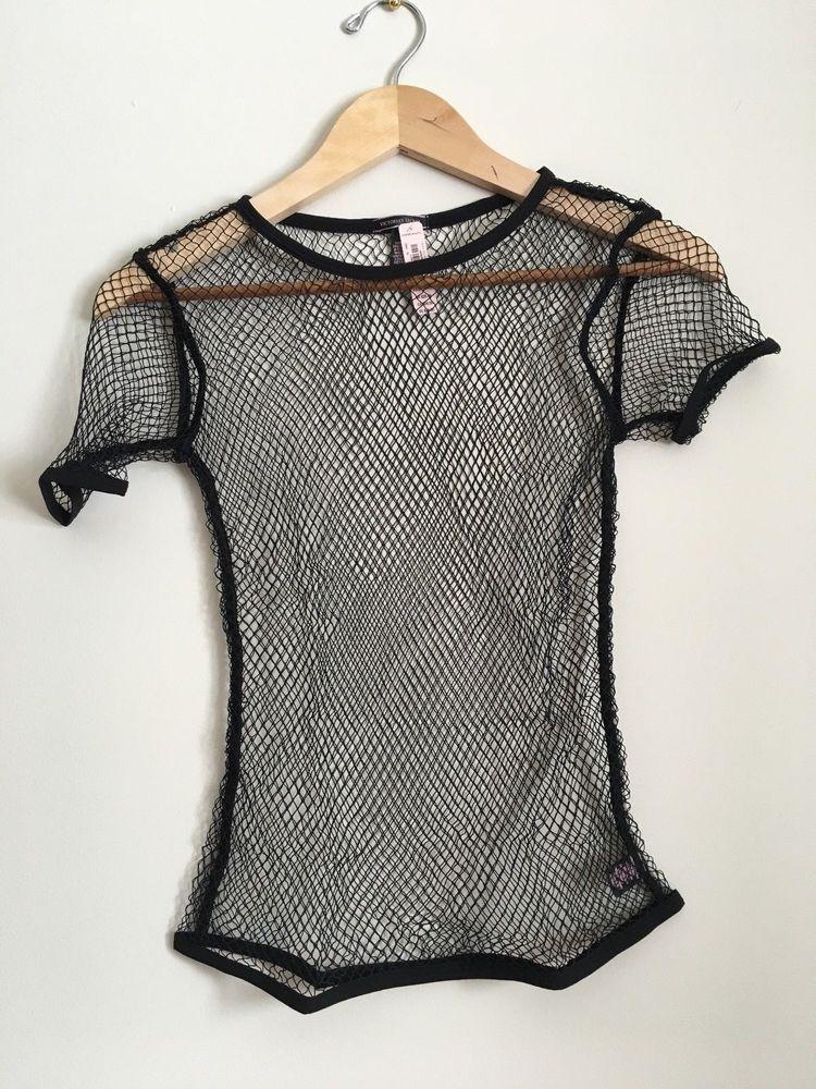 3aa016299e NWT Victoria s Secret black fish net mesh t-shirt Swim cover-up Size XS S   VictoriasSecret  CoverUp