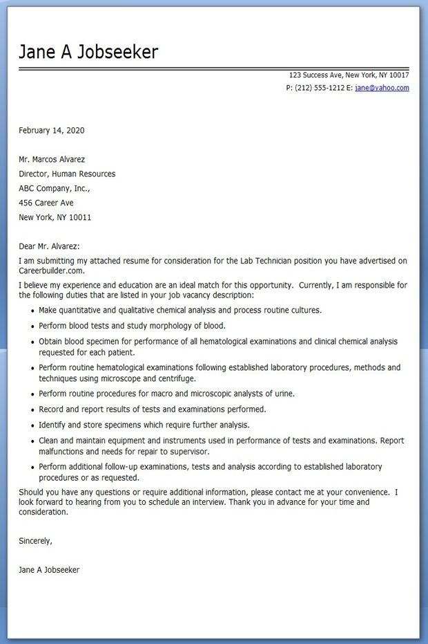 Lab Technician Cover Letter Examples | Creative Resume Design