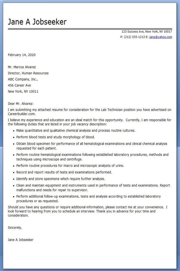 Sample Cover Letter For Medical Laboratory Assistant June 2021