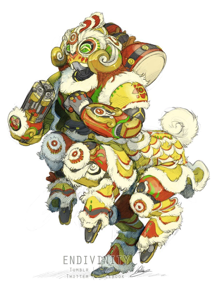 "Kullen on Twitter: ""it was my birthday so I drew what I wanted and what i WANTED was a dancing lion Orisa, BLIZZARD, #Overwatch… """