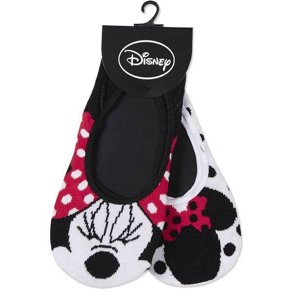 TopShop Disney's Minnie Mouse Footsies ($8.54) ❤ liked on Polyvore featuring intimates, hosiery, socks, black, topshop, topshop socks and cotton socks