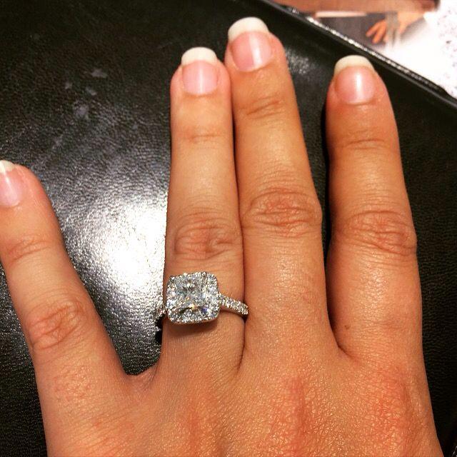 princess cut halo engagement rings on finger 30428 notefolio