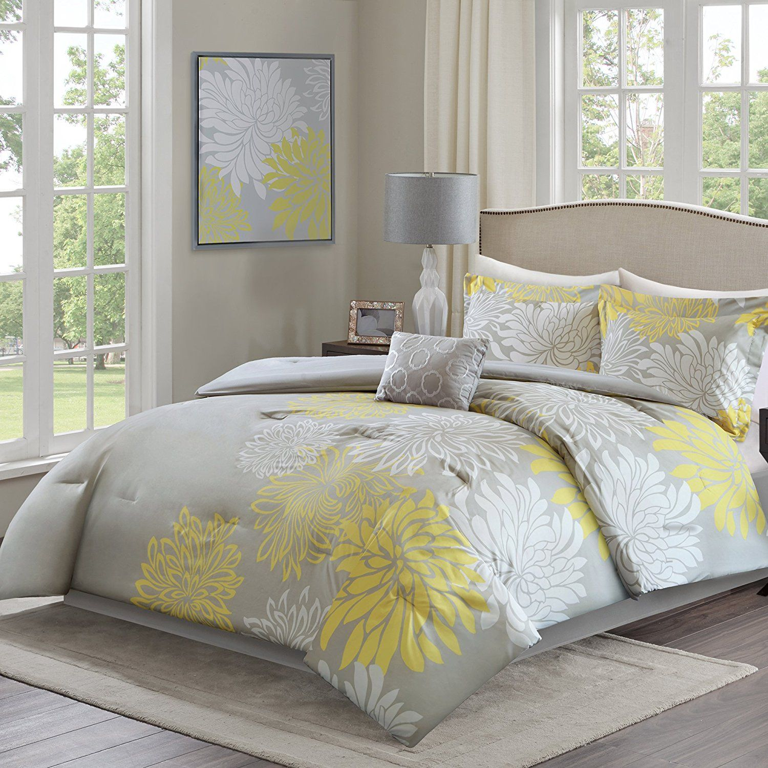 Comfort Spaces A Enya Comforter Set 5 Piece A Yellow Grey A