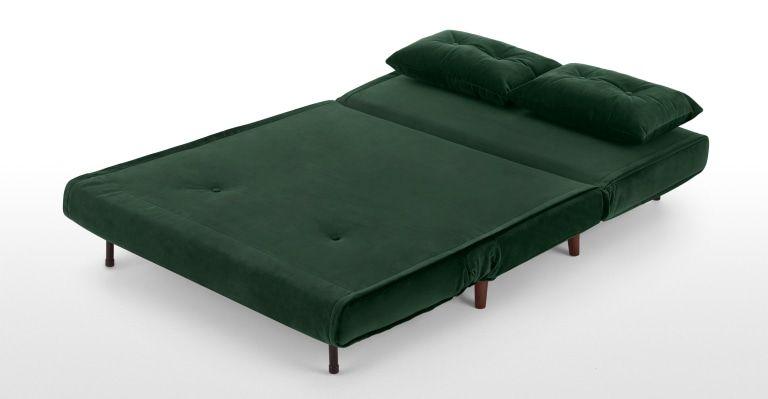 Haru Small Sofa Bed Pine Green Velvet In 2020 Small Sofa Sofa Bed Design Small Sofa Bed