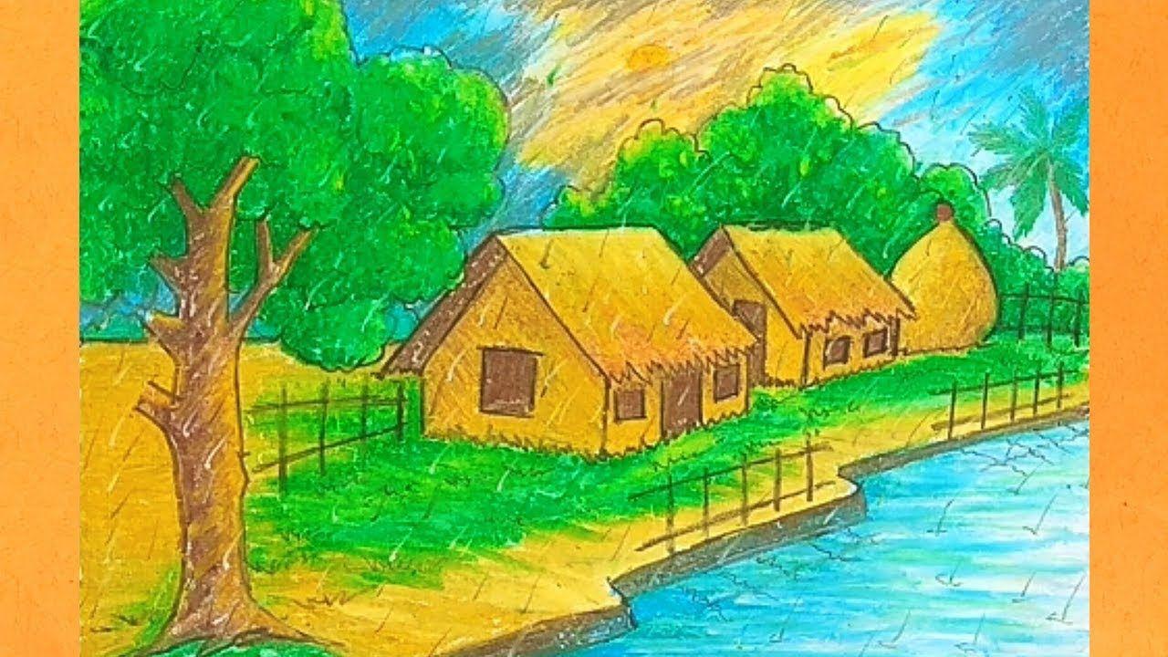 How To Draw Rainy Season Scenery Very Easy Scenery Drawing