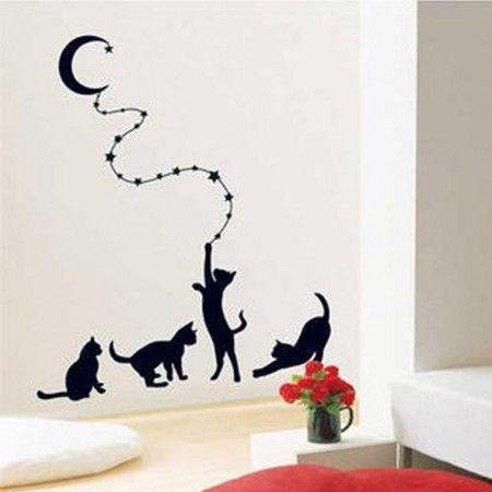 sticker autocollant mural chats lune noir d co mur salon chambre enfant baby pinterest. Black Bedroom Furniture Sets. Home Design Ideas