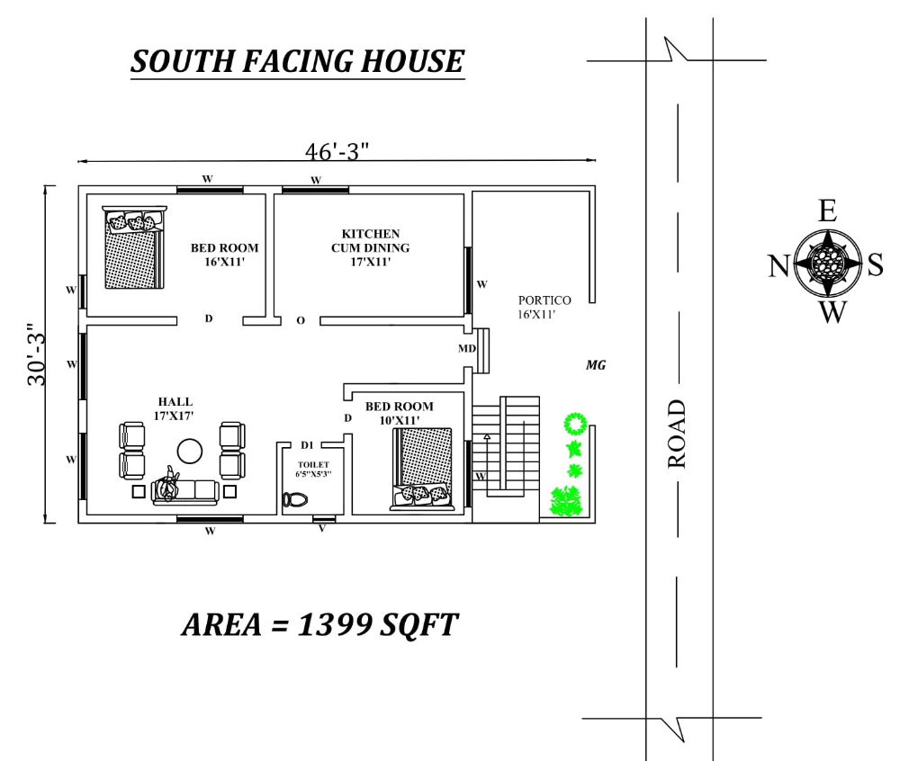 46 X30 2bhk South Facing House Plan As Per Vastu Shastra Autocad Dwg File Details Cadbull South Facing House House Plans How To Plan