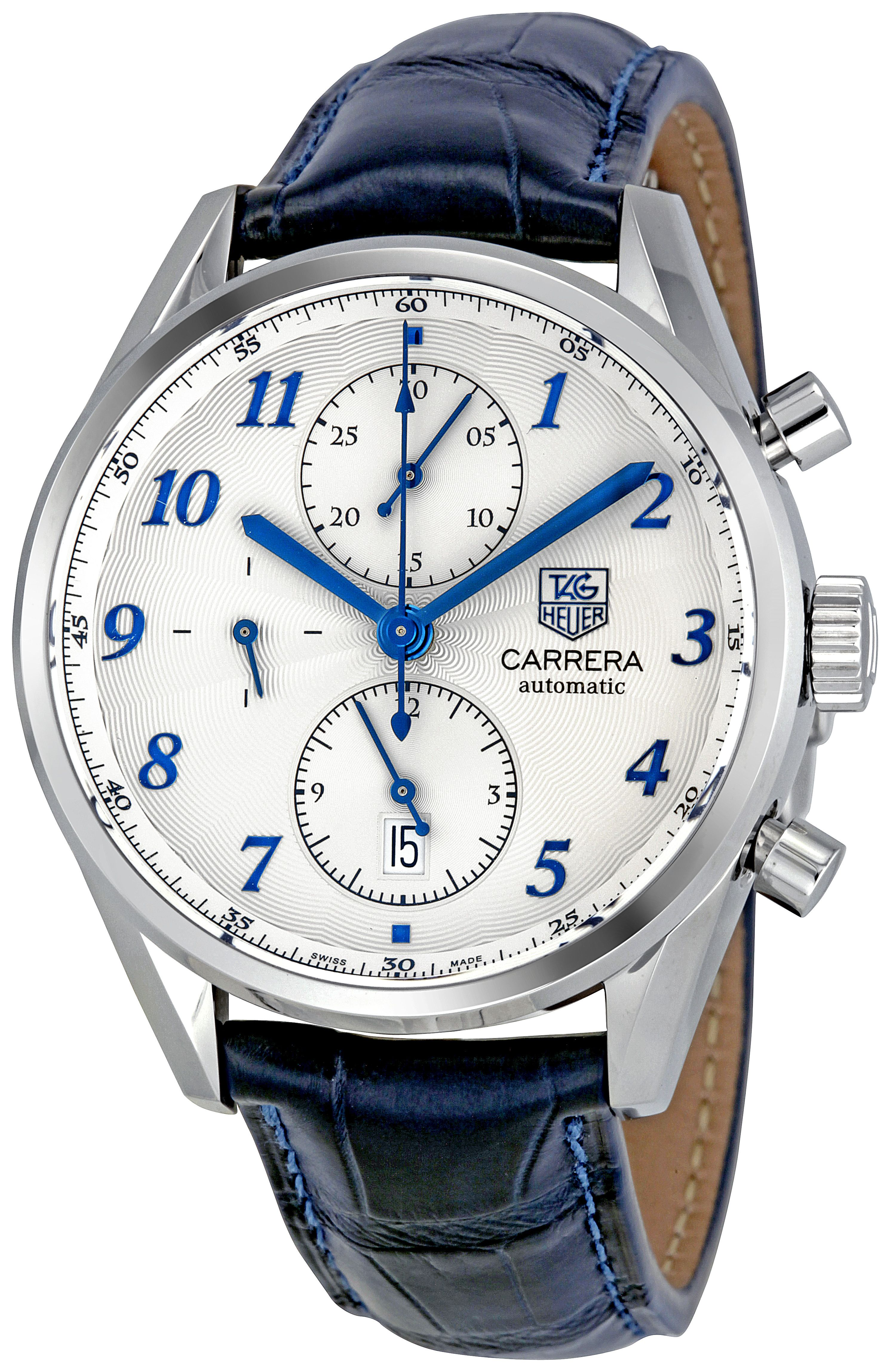 1c8754bfa1a Tag Heuer Carrera Heritage Chronograph Automatic Blue Alligator Leather Mens  Watch CAS2111.FC6292. Is it just me, or does this look like an IWC  Portuguese?