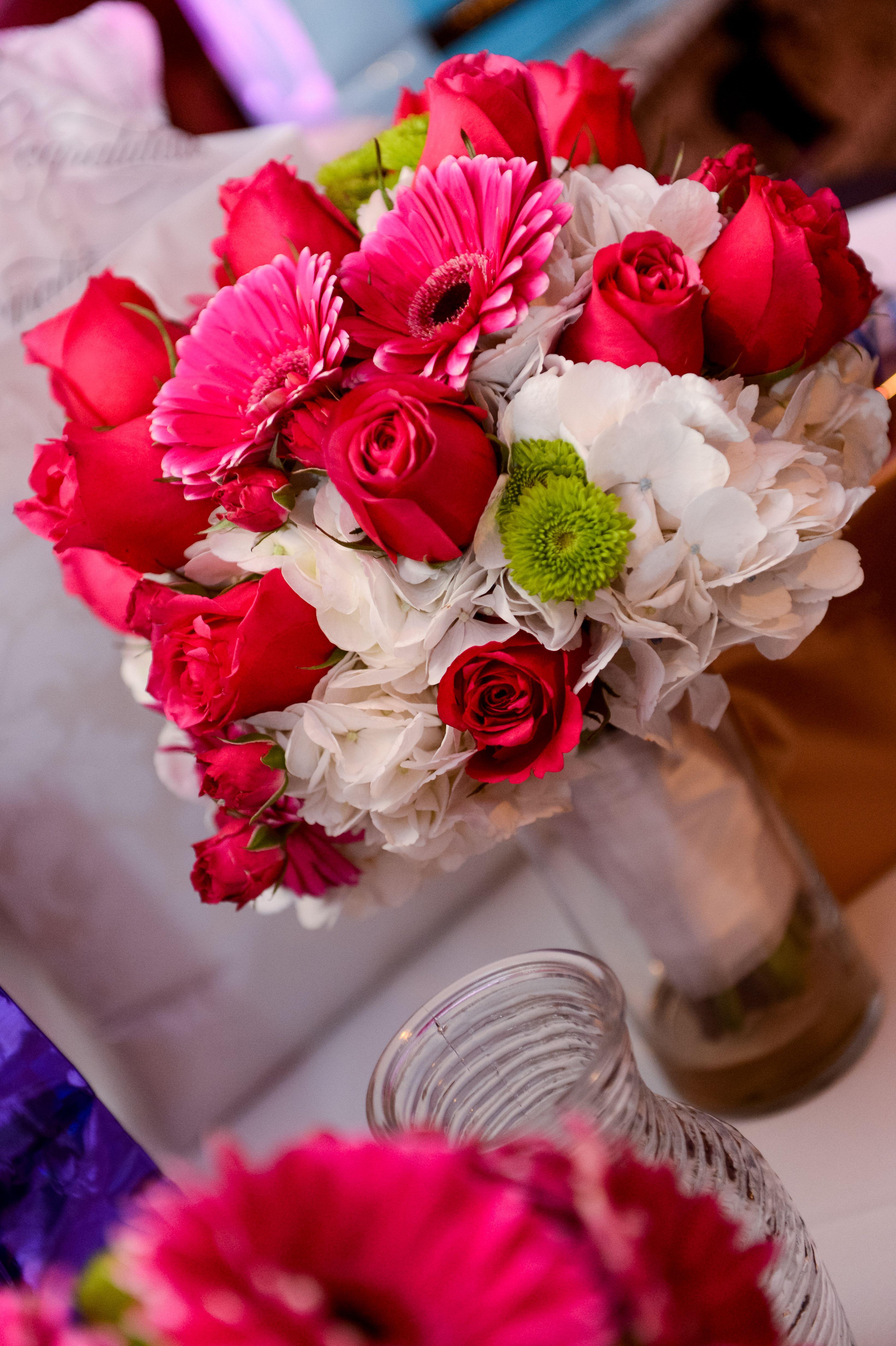 Hot pink roseshot pink gerbera daisies with white