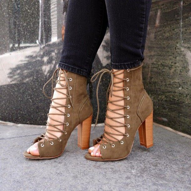 3255ce7852d Olive Green Strappy Booties
