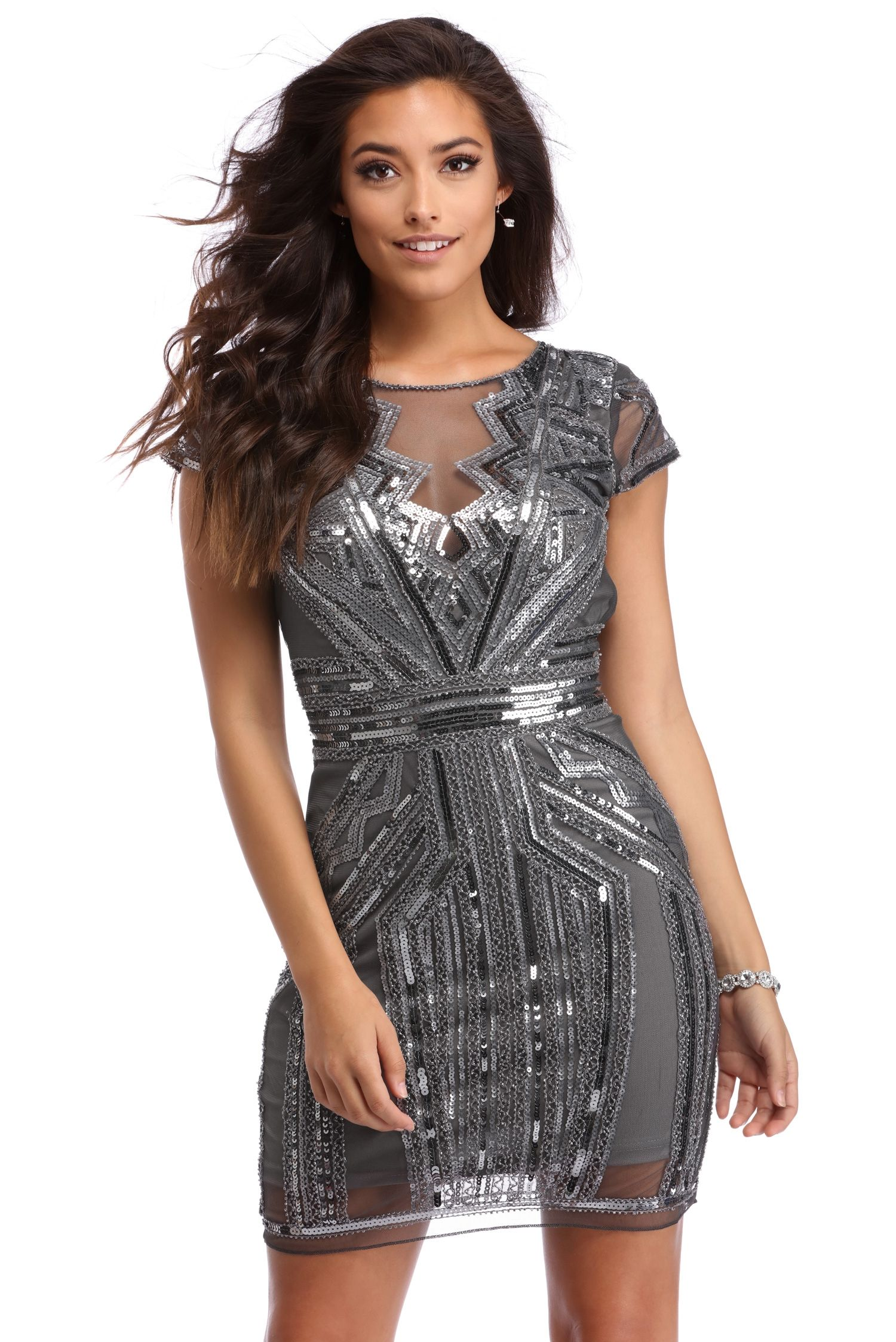 46ac940c Arianell Gray Glassy Sequin Dress | windsor | Special Occasion ...