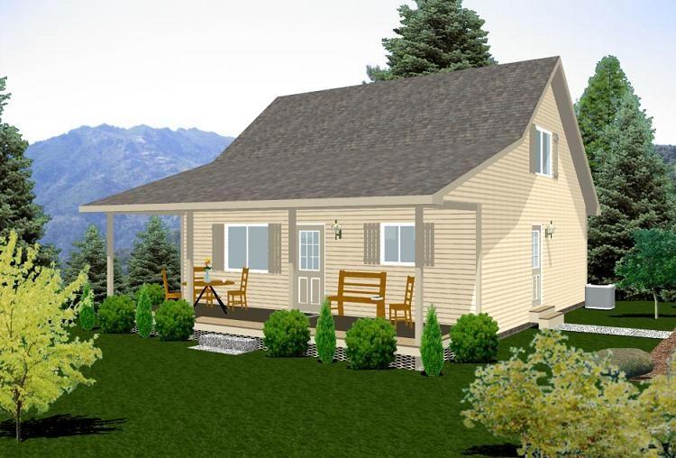 Bernard building center rustic retreat 24x28 cabin for Log siding house plans